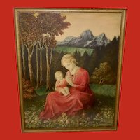 Hans Huber-Sulzemoos Vintage Print of Mother and Child in Garden
