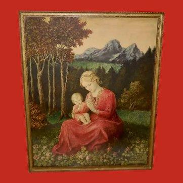 Hans Huber-Sulzemoos Vintage Print of Mother and Child in Garden