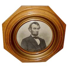 Small Vintage Print of Abraham Lincoln in Octagonal Frame