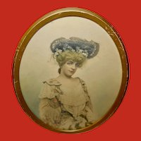 Tinted Photo Print of Lady with Large Hat