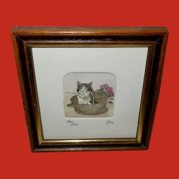 Miniature Signed Numbered Kitten in Basket