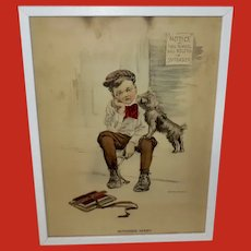 Reinthal & Newman Vintage Print Boy with Dog -  September Mourn