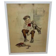 Reinthal & Newman Vintage Print Boy with Dog -  September Mourn