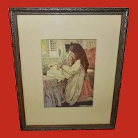 Jessie Willcox Smith Vintage Print of Girl with Doll