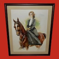 Maud Stumm Vintage Print of Lady on Horseback