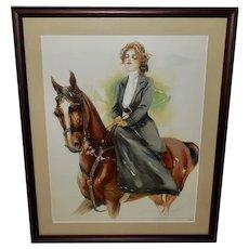 Maud Stumm Vintage Print of Lady on Horseback