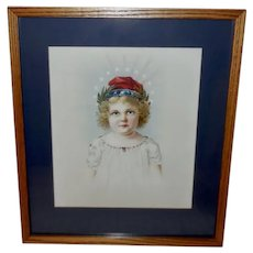 Chromolithograph of Patriotic Little Miss Liberty
