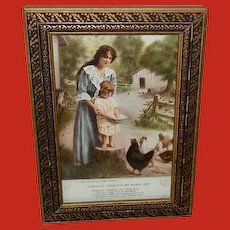 James Arthur Small Vintage Print of Woman and Daughter Feeding Hens