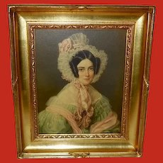 F. Saar Portrait Print of Lady in Decorative Gold Wood Frame