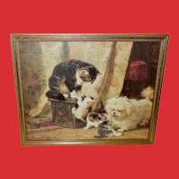 Henriette Ronner Vintage Print of Mother Cat and Kittens with Dog