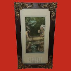 Aquatint 1926 Calendar With Indian Man and Woman Forest Romance