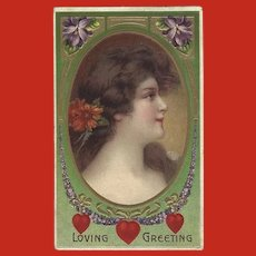 Embossed 1909 Romantic Postcard With Profile of Lovely Brunette