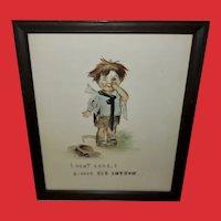 Vintage Tinted Print of Mischievous Boy