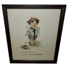 Vintage Tinted Print of Mischievous Boy