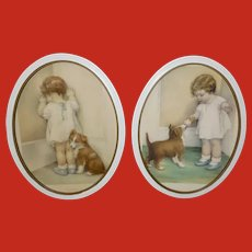 Bessie Pease Gutmann Pair of Prints Young Girl and Dog