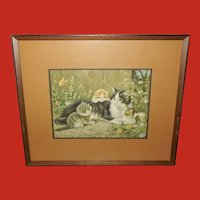Vintage Artist Signed Print of Mother Cat and Three Kittens