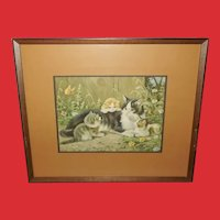 Vintage Print of Mother Cat and Three Kittens