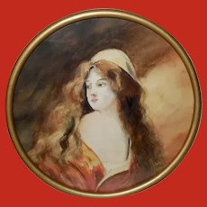Watercolor of Art Nouveau Style Woman with Long Hair