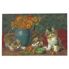 Daniel Merlin Vintage Postcard of Kittens and Flowers