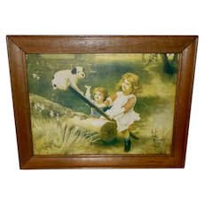 Small Vintage Print of Children on Teeter Totter with Puppy Dog