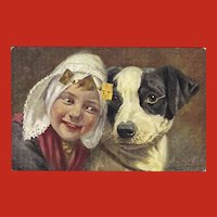 Artist Signed Dutch Postcard of Young Girl and her Dog