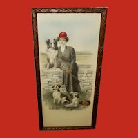 Lyman Powell Embossed Vintage Tinted Print of Woman and Three Dogs