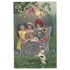 Embossed and Embellished German Postcard Children and Dog