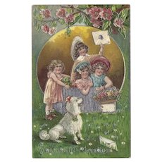Embossed and Embellished German Valentine Postcard Children and Poodle Dog