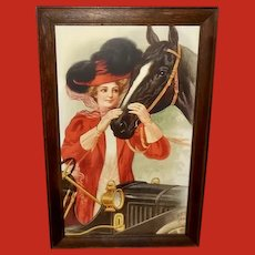 B. Lichtman Vintage Print of Lady with Horse and Car
