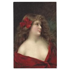 Angelo Asti Vintage Postcard of Lady in Red