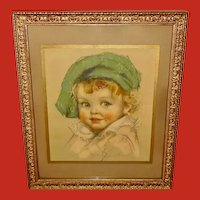 Maud Tousey Fangel Vintage Print of Young Child with Green Hat