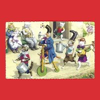 Alfred Mainzer Dressed Cat Postcard - Cats on Parade