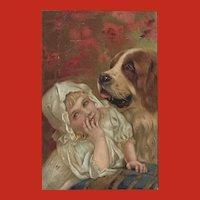 Embossed Vintage Postcard of Young Girl and Saint Bernard Dog