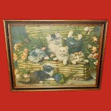 Leon Huber Vintage Print of Six Kittens in a Basket