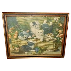 Leon Huber Vintage Print of Six Kittens in a Basket