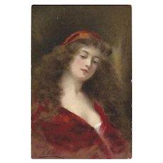Angelo Asti Raphael Tuck Vintage Postcard of Beatrice
