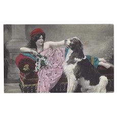 Vintage German Postcard of Lady with Saint Bernard Dog
