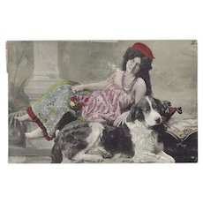 German 1908 Postcard of Lady with Saint Bernard Dog