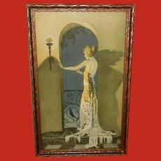 Cole Phillips Vintage Print of Art Deco Style Lady