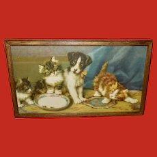 Daniel Merlin Vintage Print of Three Kittens and Dog