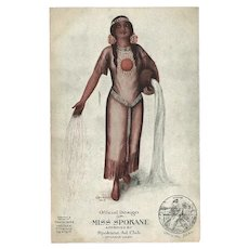 Advertising 1912 Postcard for Indian Maiden Miss Spokane