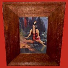 L. Goddard Vintage Indian Maiden Print in Wide Wood Frame