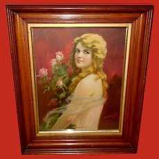 Hy Hintermeister Vintage Print of Lady with Roses
