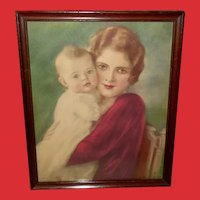 Haskell Coffin Vintage Print of Mother and Baby