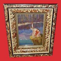 L. Goddard Indian Maiden in Layered Frame