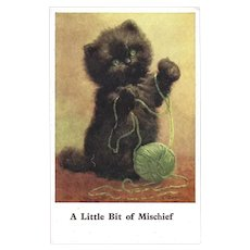 Vintage E. L. Beckles Postcard of Mischievous Kitten