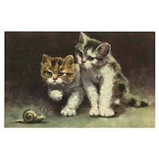 Vintage French Textured Postcard of Two Kittens and Snail