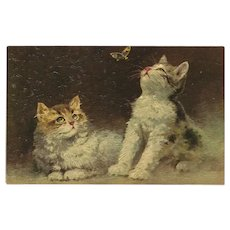 Vintage Textured French Postcard of Two Kittens with Butterfly