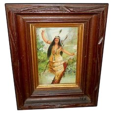 Chromolithograph of Indian Maiden on Log