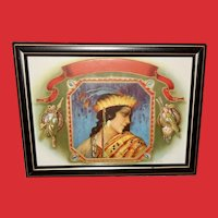 Embossed and Embellished Vintage Print of Indian Maiden